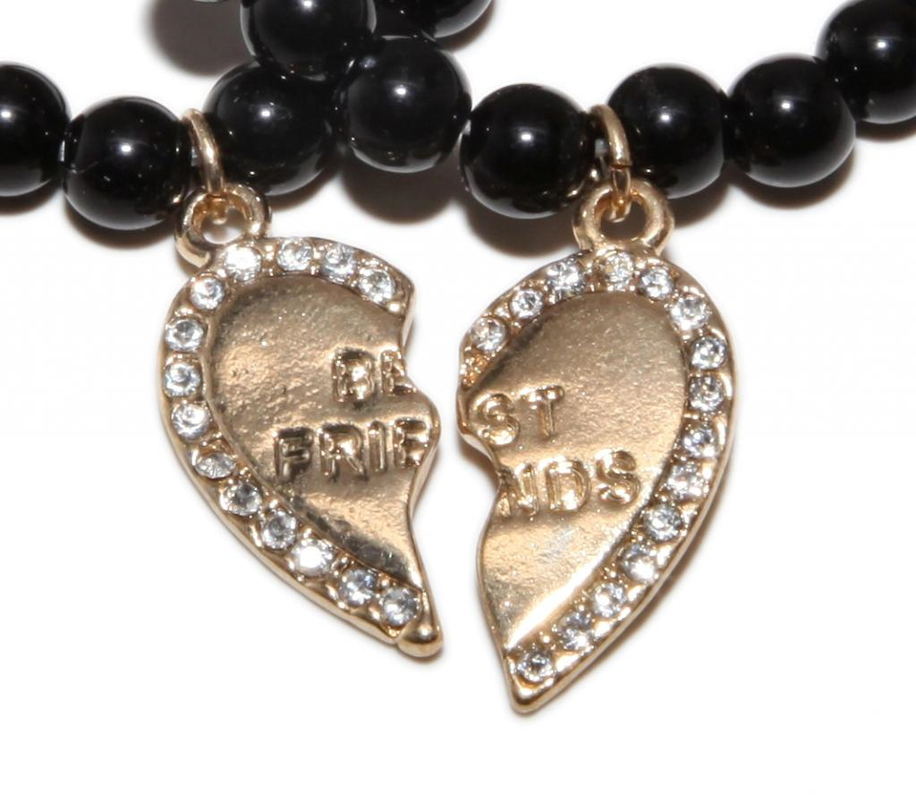 Best Friend Charm Bracelet: Gold Best Friends BFF Black Beaded Stretch Heart Charm